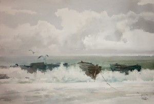 """Boats"" watercolor on paper, 38 x 56, 2011"
