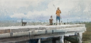 """Catch expecting"" watercolor on paper, 21 x 45, 2011"