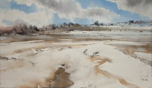"""Last snow"" watercolor on paper, 31 x 56, 2011"