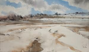 """Last snow"" watercolor on paper, 31 x 56, 2011"