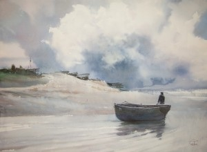 """Near the sandbank"" watercolor on paper, 56 x 76, 2011"