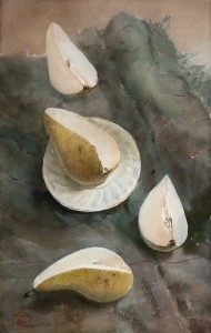 """Pears"" watercolor on paper, 45 x 28,5, 2011"