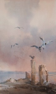 """Sea gulls"" watercolor on paper, 30 x 18, 2011"