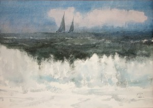 """Surf & two yachts"" watercolor on paper, 43 x 61, 2011"