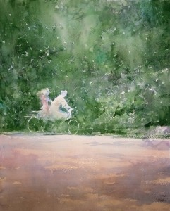 """Walk in the summer afternoon"" watercolor on paper, 56 x 45, 2011"