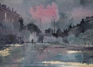 """Rain in a night city"" watercolor on paper, 41 х 57. 2011"