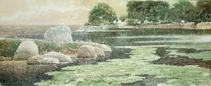 """Water-lilies"" watercolor on paper, 20 х 50. 2011"