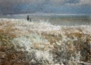 """""""The edge of the earth"""" watercolor on paper, 50 x 70. 2011"""