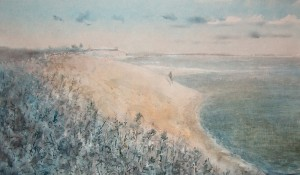 """Shores of sagebrush"" watercolor on paper, 41 x 70. 2011"