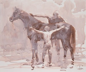 """Horse bathing"" ink on paper, 25 x 30, 2011"