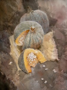 """Pumpkin seeds"" watercolor on paper, 61 x 46, 2011"