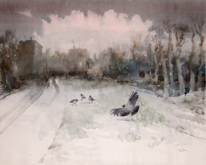 """First winter days"" watercolor on paper, 56 x 70, 2011"