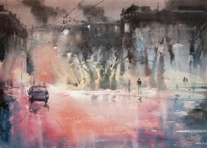 """The rustle of tires and drops"" watercolor on paper, 50 x 70, 2011"