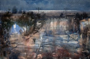 """South evening"" watercolor on paper, 40 x 61, 2012"