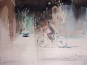 """Winter rider"" watercolor on paper, 46 x 61, 2012"