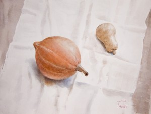 """Two pumpkins"" watercolor on paper, 46 x 61, 2012"