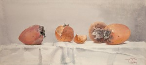 """Persimmon"" watercolor on paper, 28 x 63, 2012"