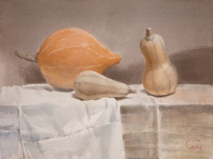 """Pumpkin still life"" watercolor on paper, 43 x 57, 2012"
