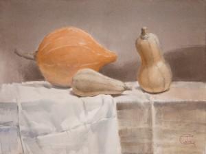 """Pumpkin still life"" watercolor on paper, 43 x 57, 2012"