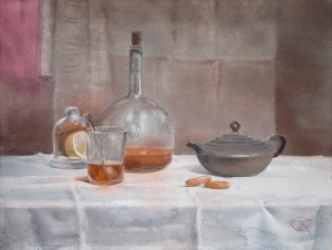"""Tea still life"" watercolor on paper, 46 x 61, 2012"