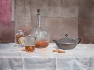 """Tea still life"" watercolor on paper, 46 x 61, 2012"
