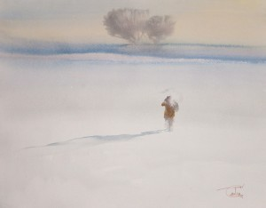 """Through the snowy field"" watercolor on paper, 34 x 43, 2012"