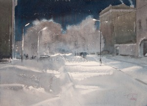 """Snow and lights"" watercolor on paper, 31 x 43, 2012"