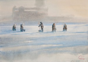 """On the ice"" watercolor on paper, 35 x 50, 2012"