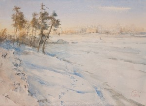 """Through the frozen bayou"" watercolor on paper, 41 x 56, 2012"