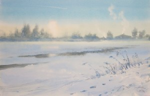 """Ice-hole"" watercolor on paper, 36 x 56, 2012"
