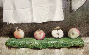 """Apples on a green napkin"" watercolor on paper, 35 x 56, 2012"