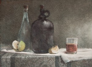 """""""Strong tea and other drinks"""" watercolor on paper, 41 x 56, 2012"""