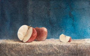 """Red apples"" watercolor on paper, 35 x 56, 2012"