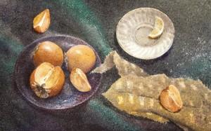 """Fruit planetarium"" watercolor on paper, 35 x 56, 2012"