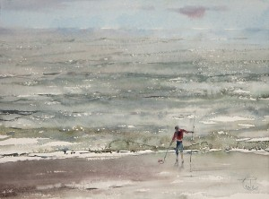 """That brought waves"" watercolor on paper, 37 x 50, 2012"
