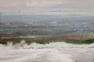 """""""Far away on the horizon"""" watercolor on paper, 33 x 50, 2012"""