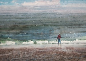 """""""What the waves brought III"""" watercolor on paper, 50 x 70, 2012"""
