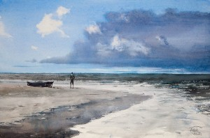 """At the water's edge"" watercolor on paper, 37 x 56, 2012"