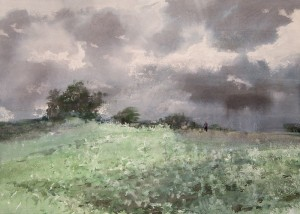"""The beginning of the thunderstorm"" watercolor on paper, 50 x 70, 2012"