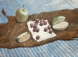 """Apples & grape"" watercolor on paper, 41 x 56, 2012"
