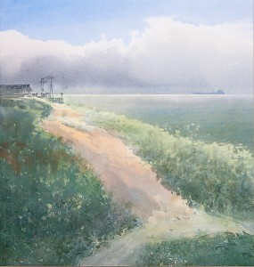 """Above the shore"" watercolor on paper, 40 x 38, 2012"