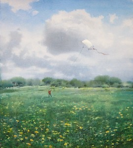 """Kite flying"" watercolor on paper, 55 x 50, 2012"