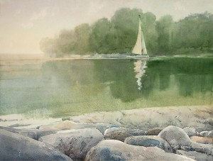 """Between the rocky shores"" watercolor on paper, 50 x 65, 2012"