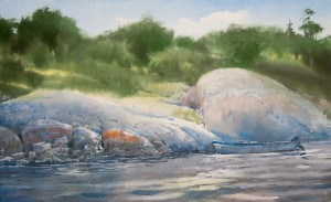 """The boat near the stones"" watercolor on paper, 34 x 56, 2012"