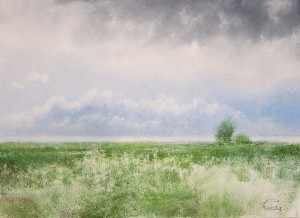 """Meadow"" watercolor on paper, 40 x 55, 2012"