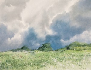 """The thunderstorm getting closer"" watercolor on paper, 35 x 45, 2012"