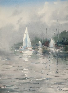"""Lights at the moorage"" watercolor on paper, 38 x 28, 2012"