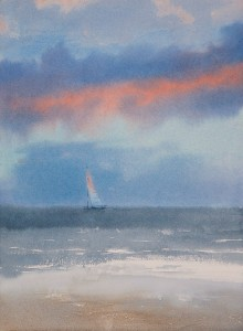 """Cloud with the red edge"" watercolor on paper, 38 x 28, 2012"