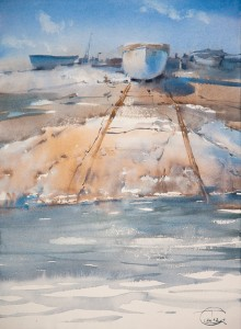 """Three boats"" watercolor on paper, 38 x 28, 2012"