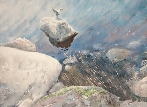 """""""On the coastal rocks"""" watercolor on paper, 41 x 56, 2012"""
